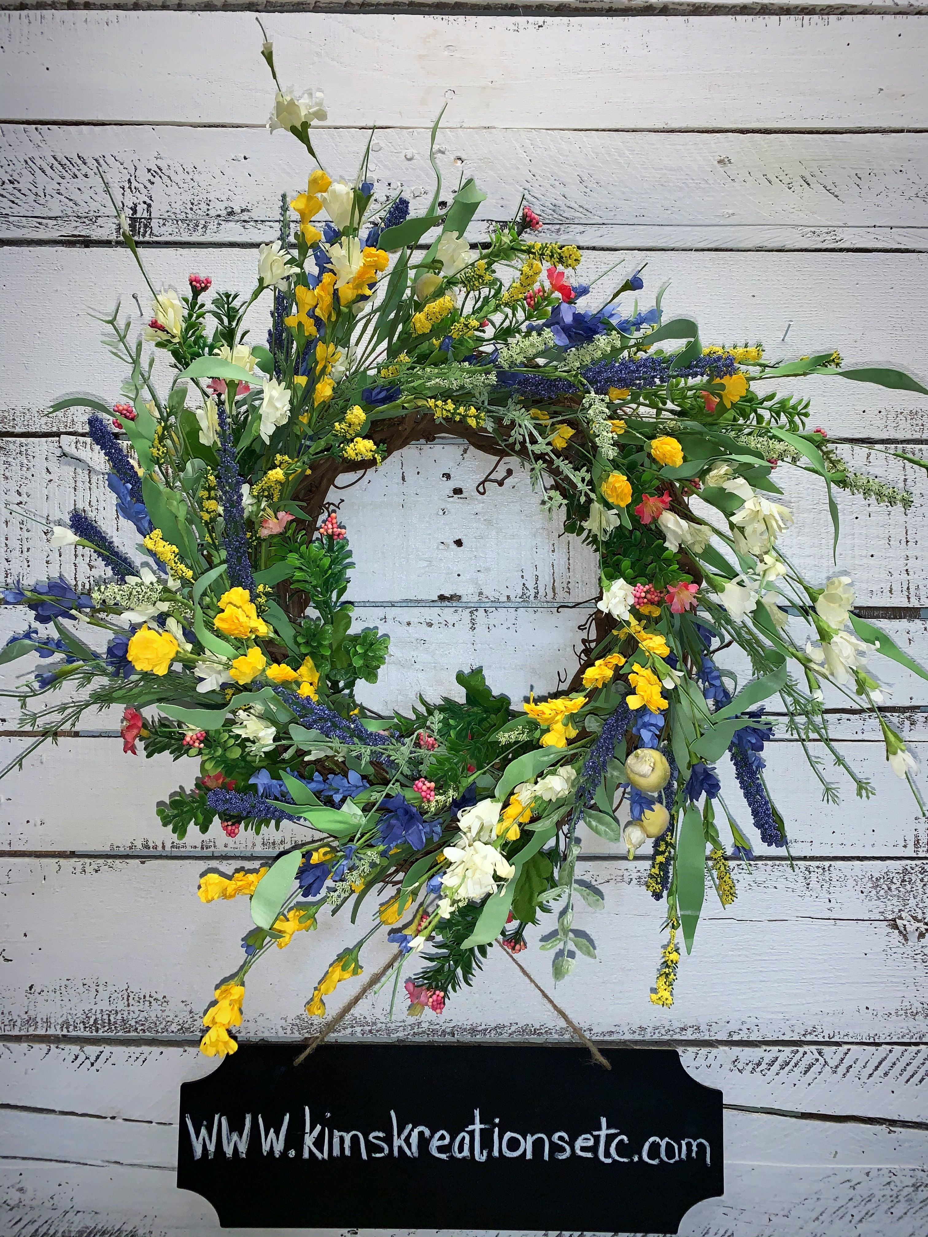 Photo of Spring Wreath, Summer Wreath, Wildflowers, Purple, Yellow, Pink, White, Wildflowers Wreath for Spring, Front Door Wreath, Home Decor, Wreaths for Sale, Decorative Wreath, Handmade Wreaths