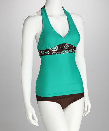 Take a look at this Divinita Sole Teal Starburst Banded Halter Tankini Top by Divinita Sole on #zulily today!
