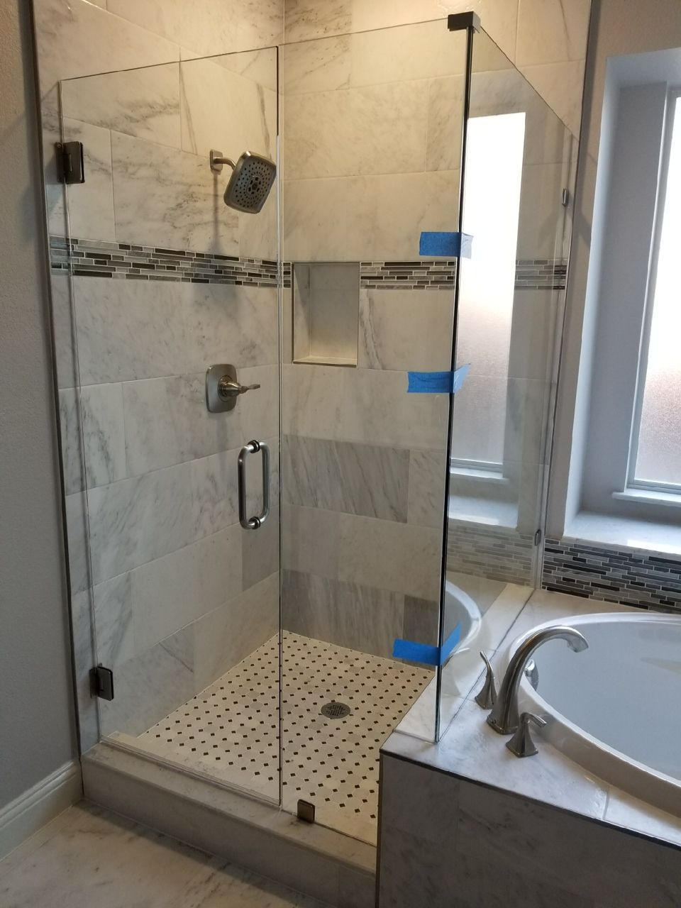Dallas Bath & Glass, Inc. Frameless corner shower enclosure next to ...