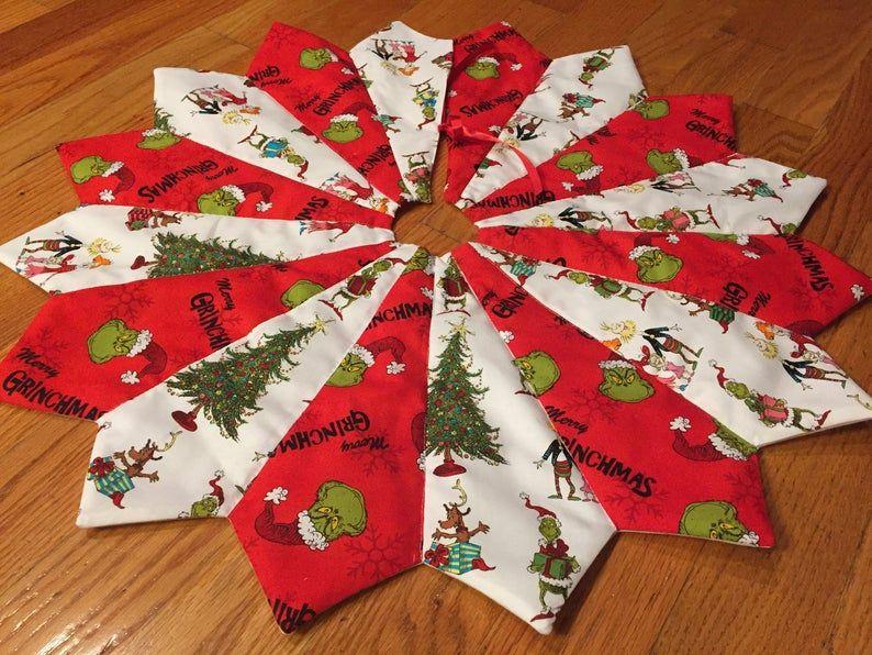 Christmas Tree Skirt Table Top Mini Small The Grinch Who Etsy Grinch Christmas Tree Christmas Tree Skirts Patterns Small Christmas Trees