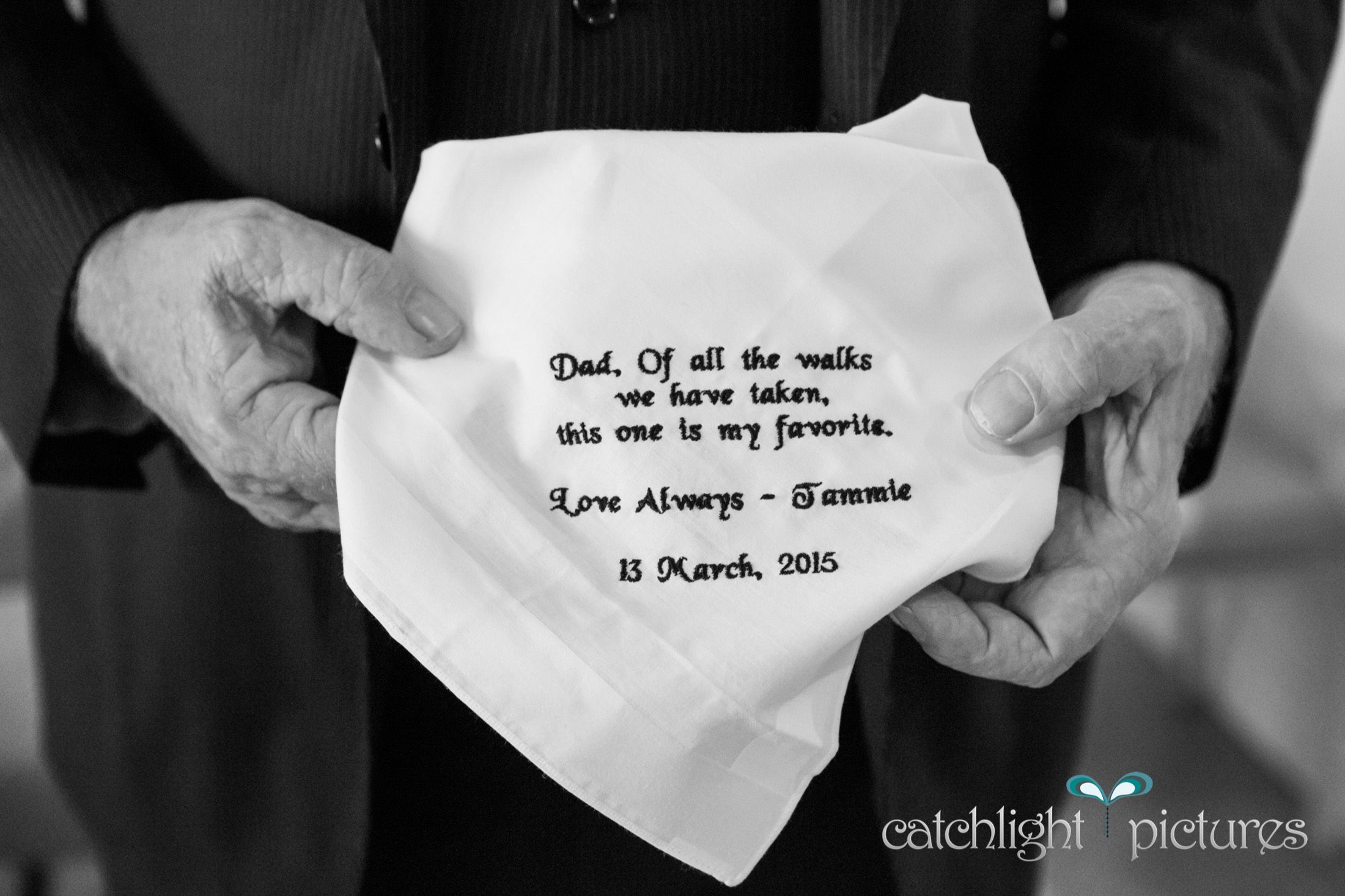 """""""Of all the walks we have taken, this one is my favourite"""" - such a gorgeous sentiment on this gift from the bride to her lovely Dad in March"""