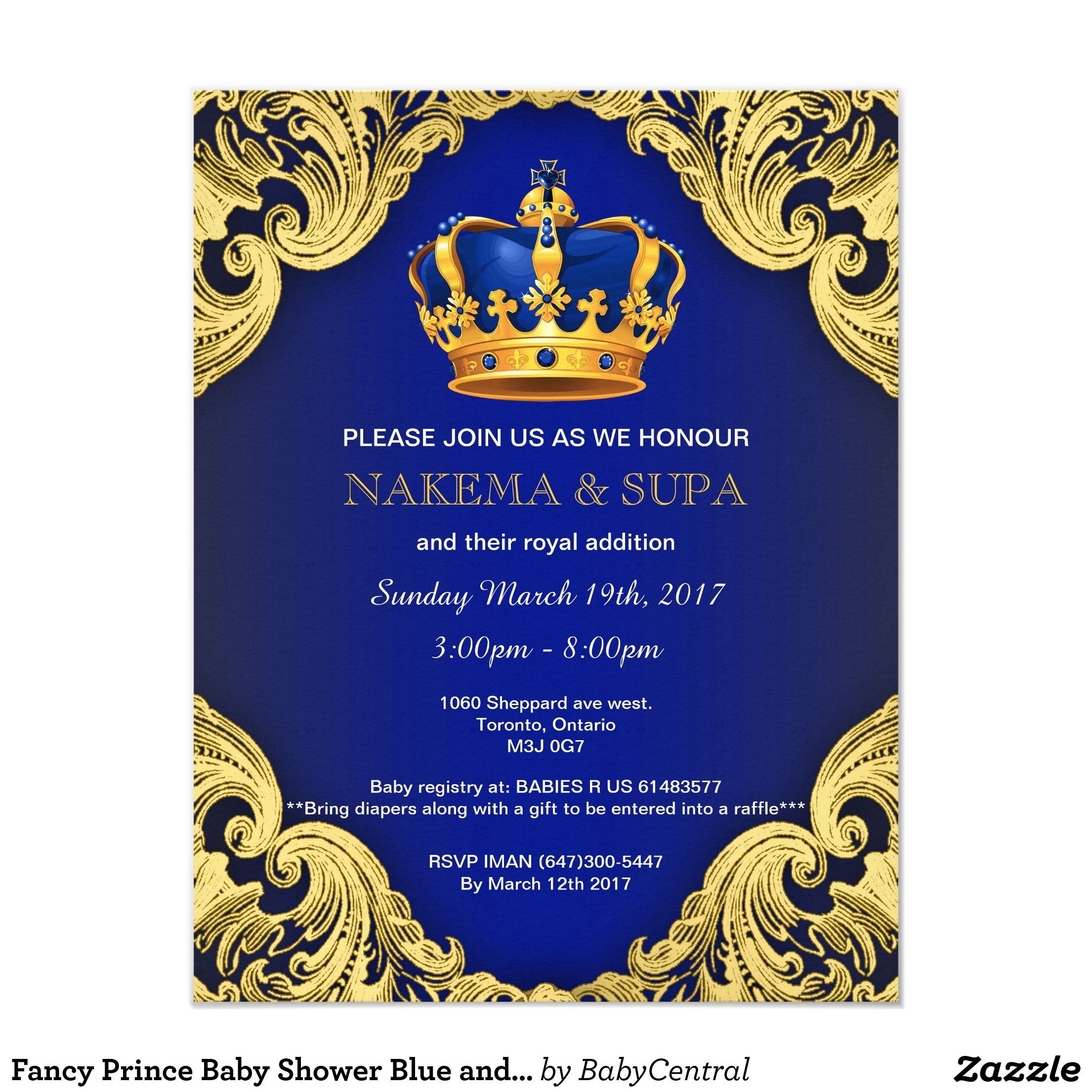 Fancy Prince Baby Shower Blue and Gold Card | Baby shower blue ...