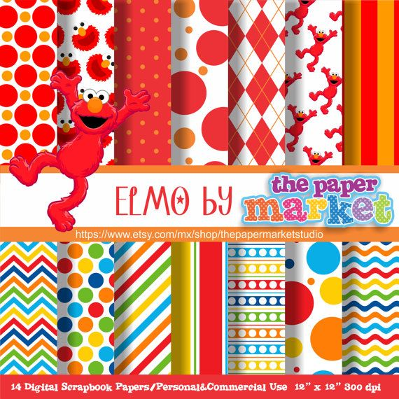 ELMO Digital Papers Polka Dot Backgrounds Lines Chevron Invitations Printables Sesame Street