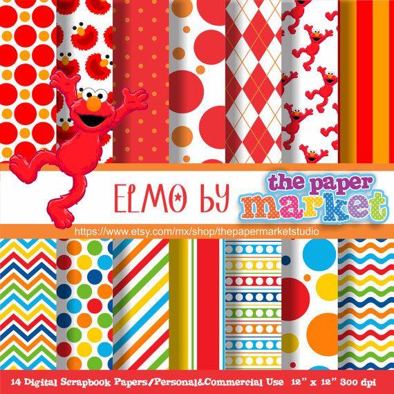 Elmo Digital Papers Polka Dot Backgrounds Digital Lines Chevron Invitations Printables Sesame Street Scrapbook Paper Digital Scrapbook Paper Digital Paper