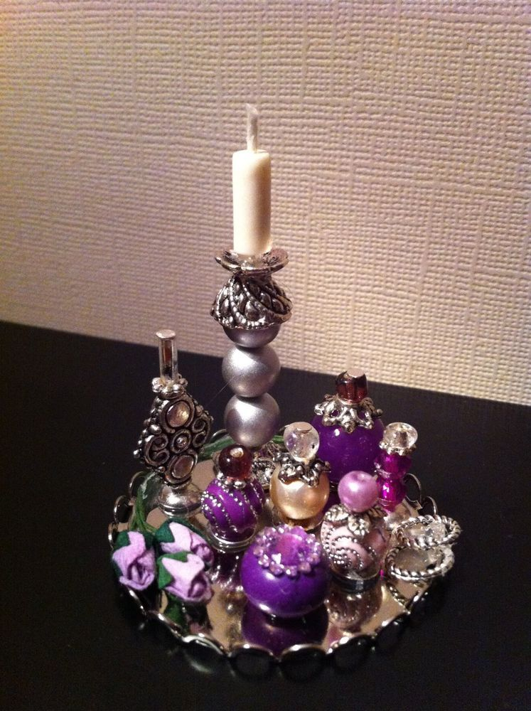 Dollhouse Miniature Lavender Vanity Perfume Tray by Piera 1:12 Scale #Piera