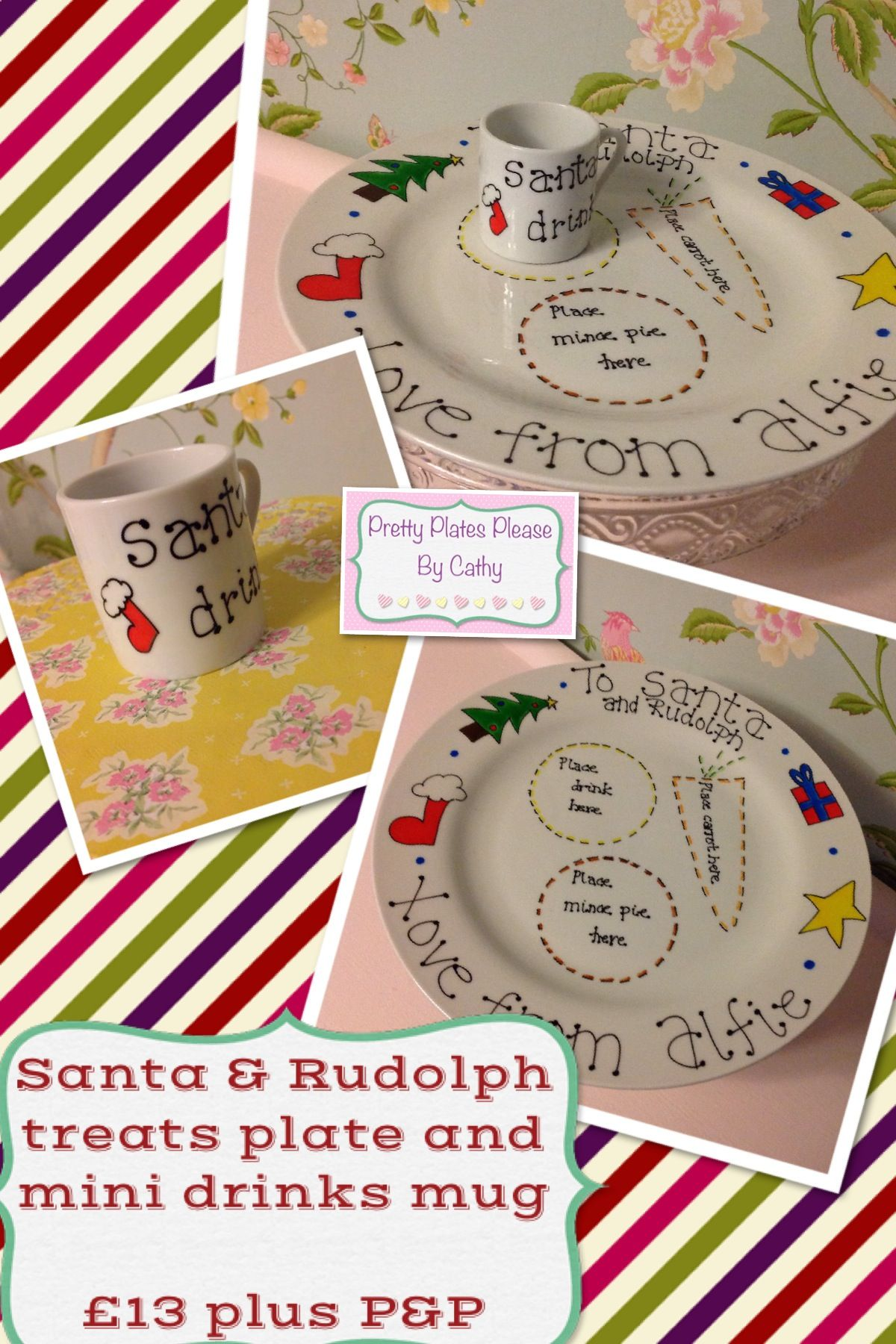 Personalised Christmas Plate with mini mug - The Supermums Craft Fair