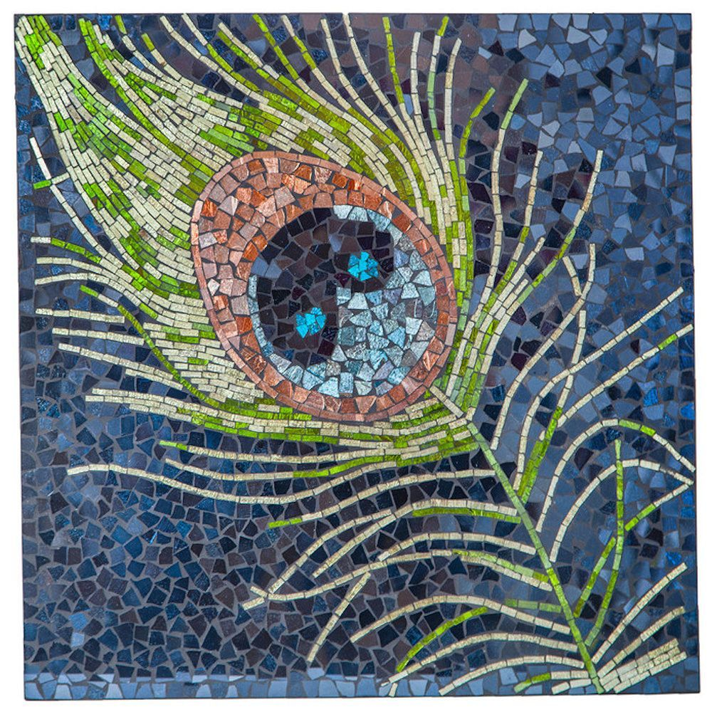 Peacock Feather Mosaic Glass Tile Wall Art | 23.5 inches ...