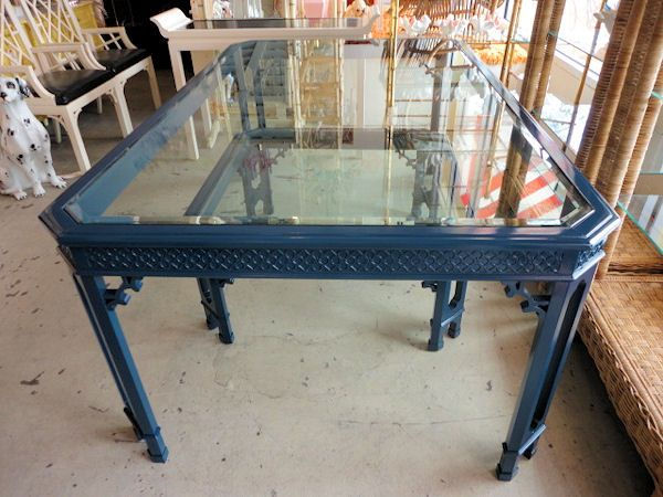 Navy Blue Dining Table: NAVY BLUE Fretwork Dining Table