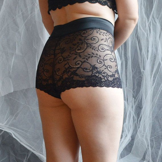 f840b6c85464 Black lace High waist panties , Lace shorts , Floral knickers , Lace french  knickers , Elegant linge