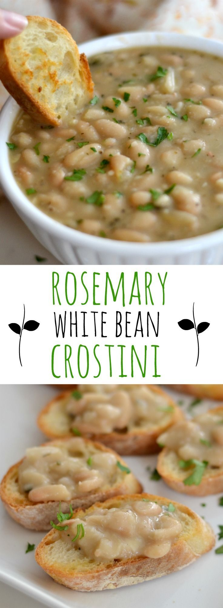Easy party appetizer made with rosemary, white beans, and garlic.