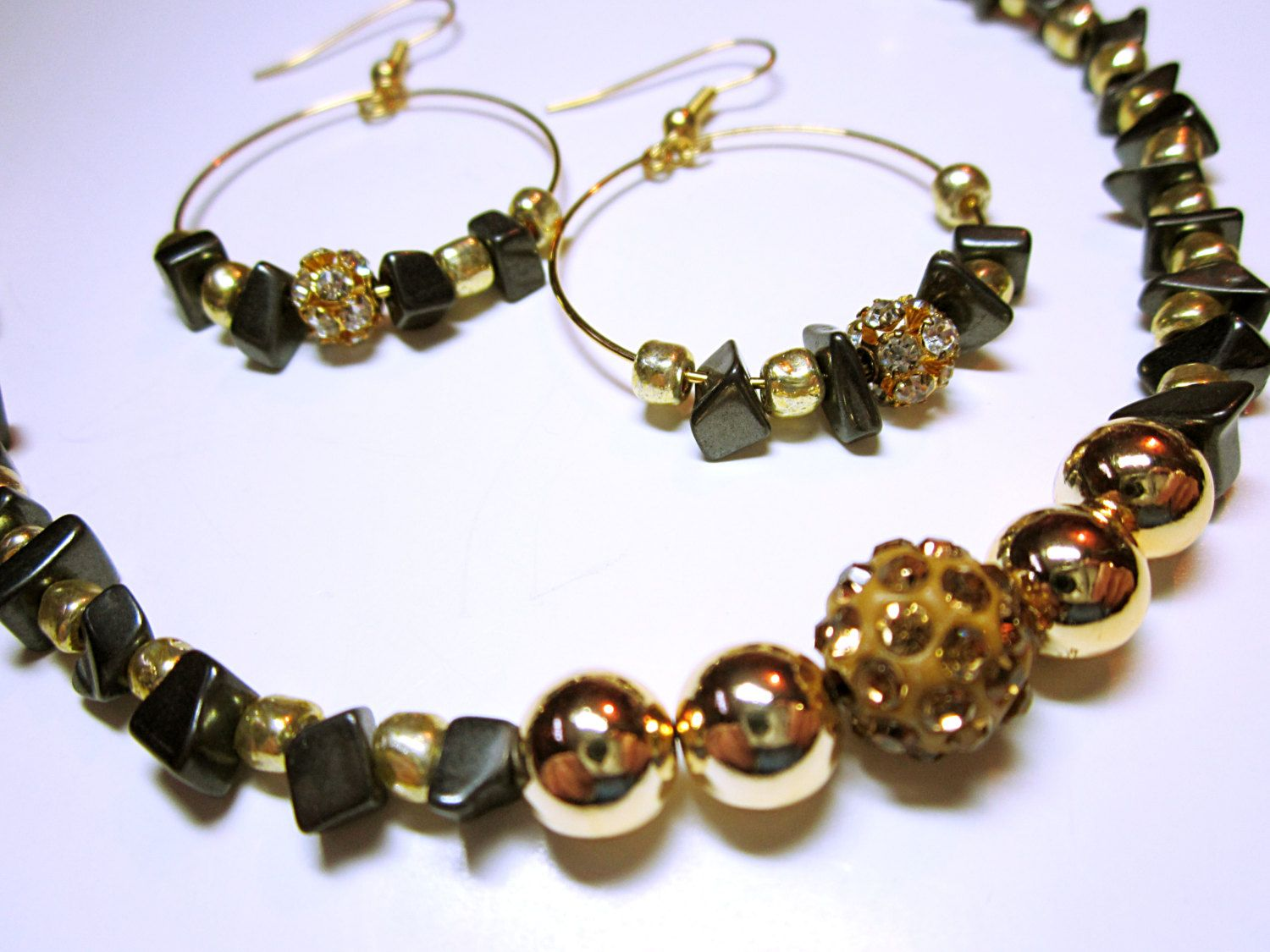 Jewelry sets hematite necklace and hoop earrings beaded black