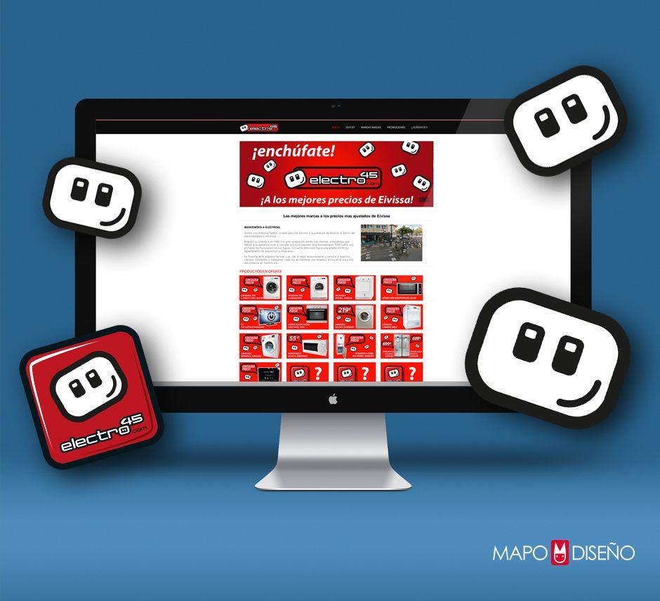 Electro45, Logotipo para tienda de electrodomésticos en Ibiza, web.