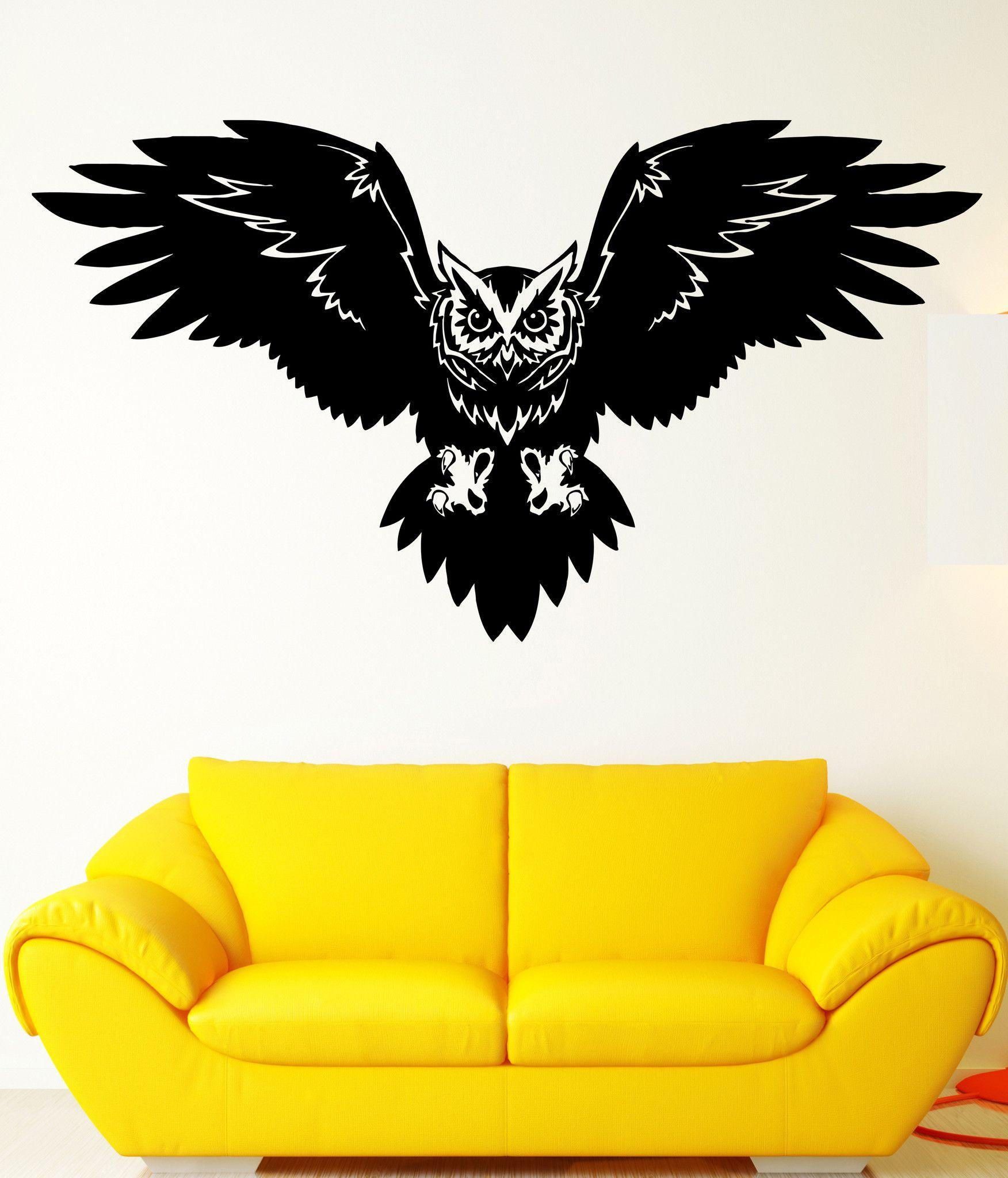 Wall Decal Bird Owl Predator Claws Wings Flying Wisdom Vinyl Decal ...