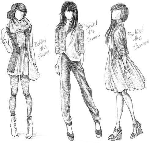 fashion sketches. // danielle's in the middle. i'd say fiona would be the most likely to wear something on the left, especially the hairstyle, but the one on the right doesn't really look like erika... does it?