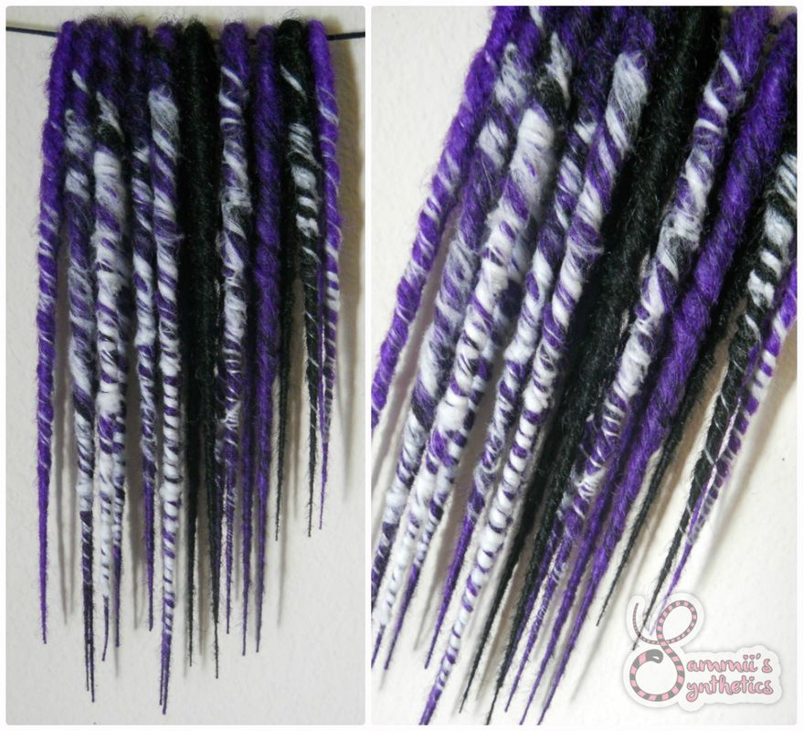 Sammii's Synthetics - 10 DE bumpy twisted short #syntheticdreads purple/black w/webs #sammiissynthetics