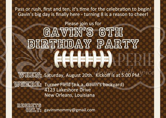 Football Birthday Party Invitation By Creolepaperie On Etsy