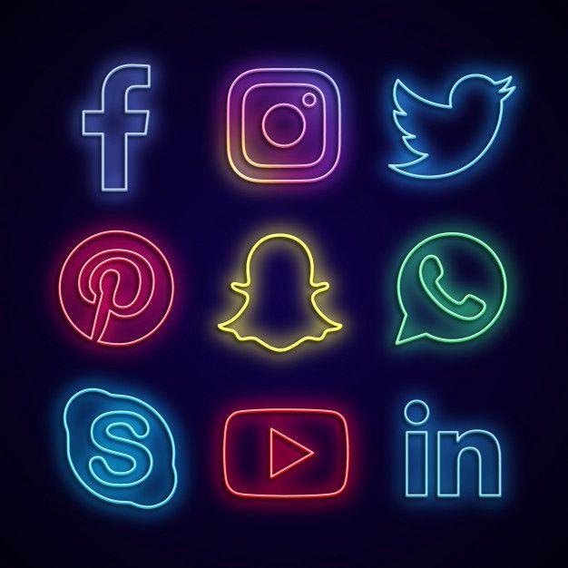 Social Media Made Of Neon Lights   Neon signs, Wallpaper ...
