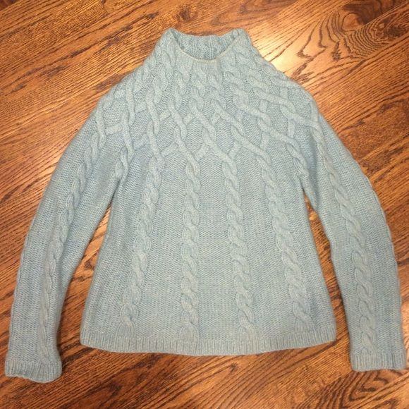 High neck Light Blue Sweater Gorgeous light blue sweaterSays size 8 would fit a petite small or an extra small Boden Sweaters Cowl & Turtlenecks