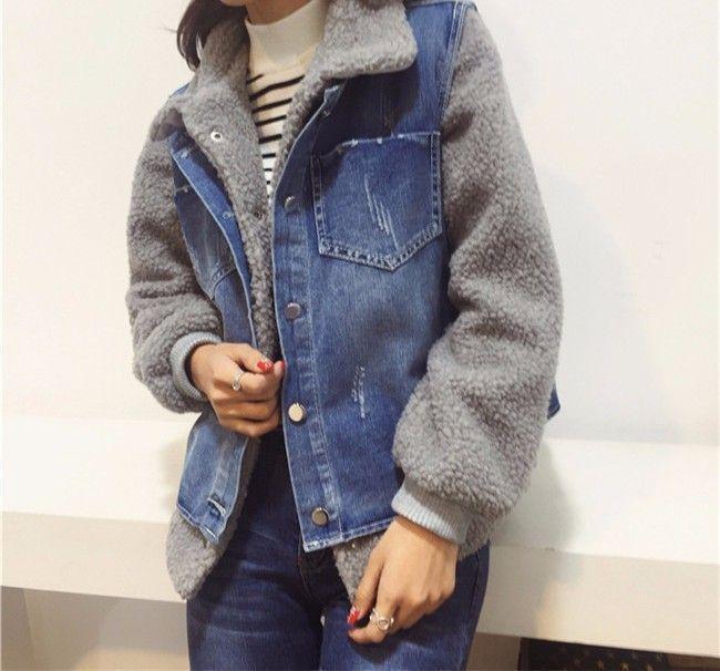 f0482ac87c3 L8520 Wholesale Fashion Clothing 2017 Winter Women Denim Jackets Short Jean  Vest Plus Feleece Coats Two-piece Dress Plus Size - Buy Women Winter Jacket  ...