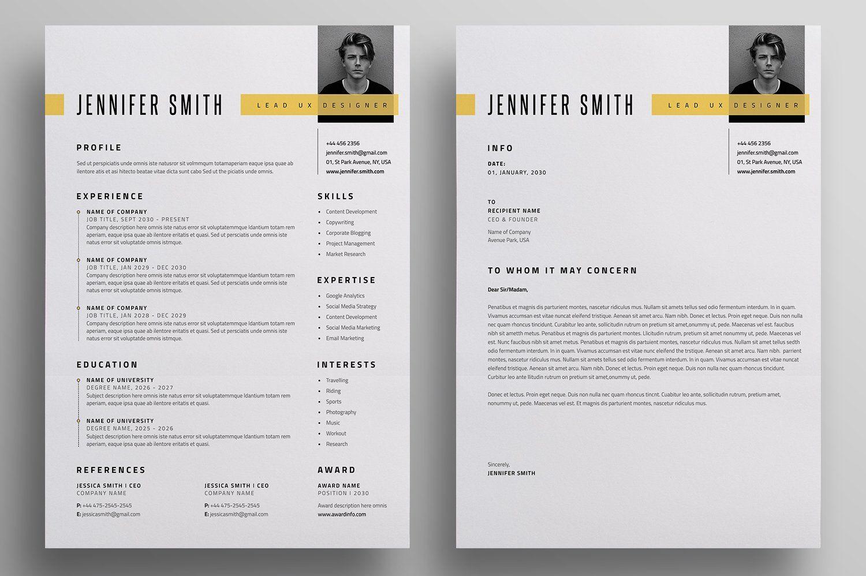 Resume Cv Letterhead Design Resume Design Unique Resume Template