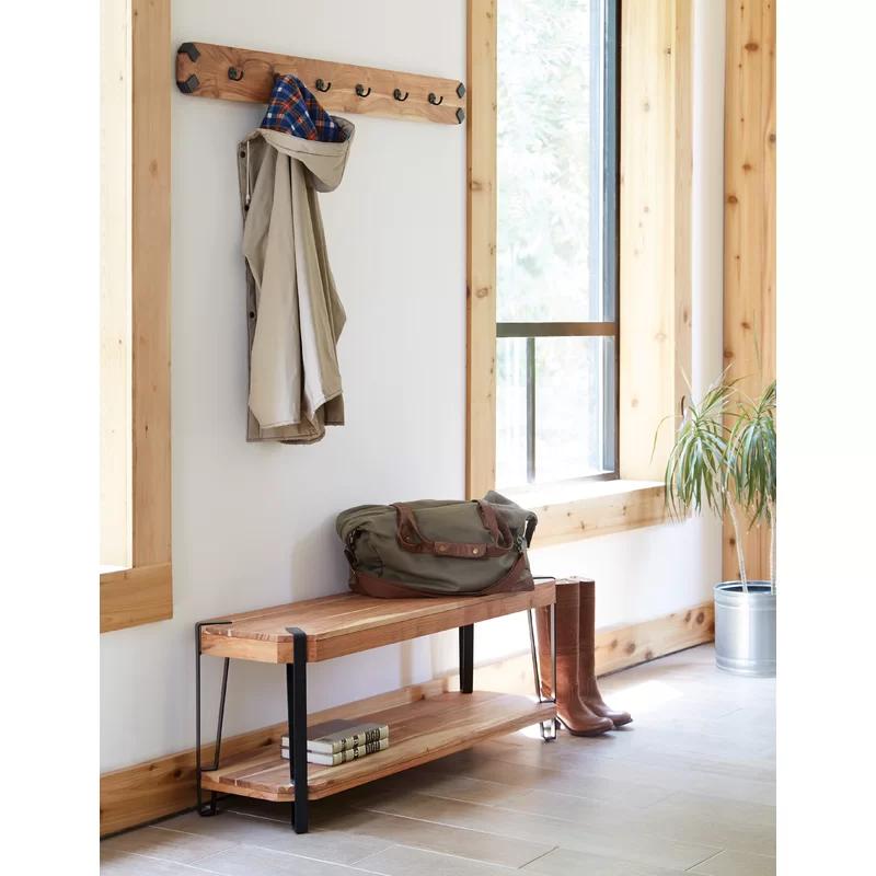 Tindal Wood Storage Bench with Coat Hook Set Hall Tree | Wood
