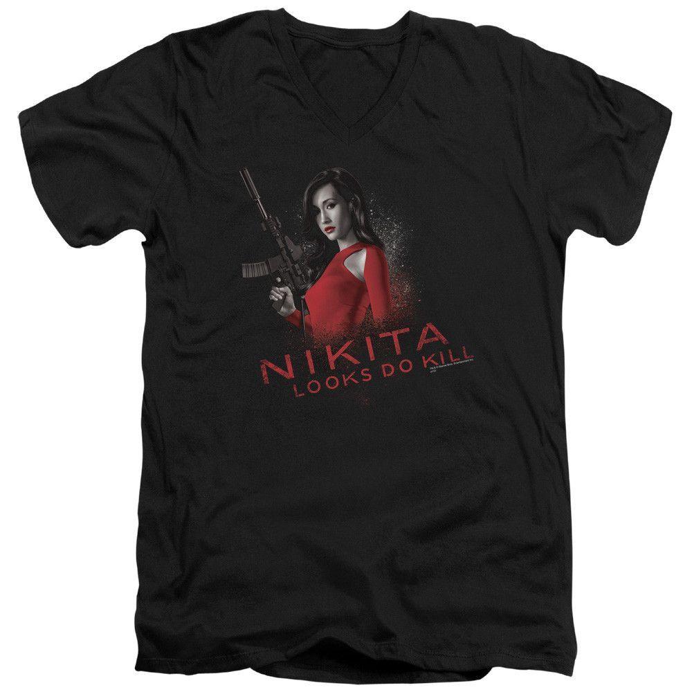 NIKITA/LOOKS DO KILL - S/S ADULT V-NECK - BLACK -