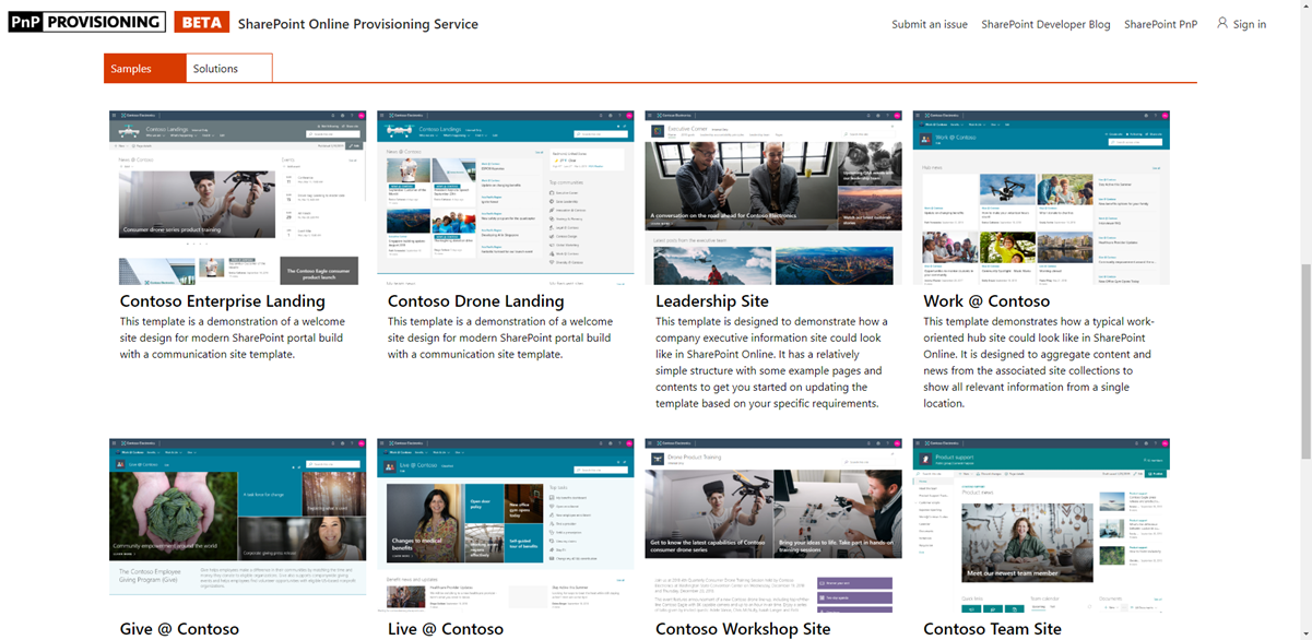 Explore Sharepoint Designs With The Preview Of The Sharepoint Provisioning Service Microsoft 365 Developer Blog Sharepoint Design Sharepoint Development