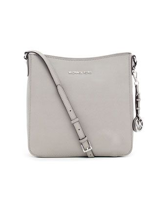 24c2bdbe86a6 MICHAEL Michael Kors Jet Set Large Travel Messenger Bag - Neiman Marcus  Pearl gray saffiano leather. Top zip. Buckled crossbody strap.