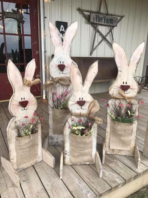 DIY Bunny Pflanzgefäße / Pflanzmaschinen #diy #easter #hunny #holzscheibendeko