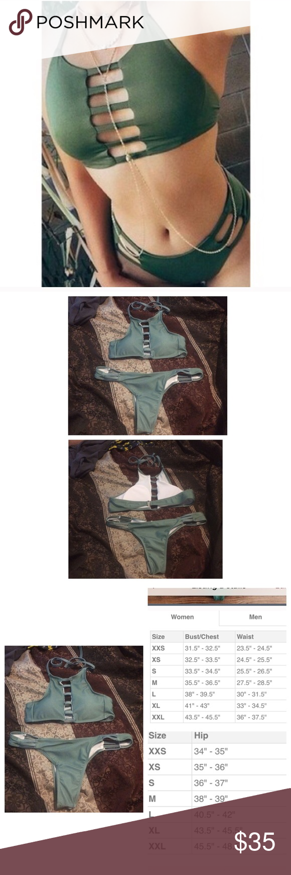 SUBMIT OFFERSNWT olive green strappy bikini PLEASE ASK IF ...
