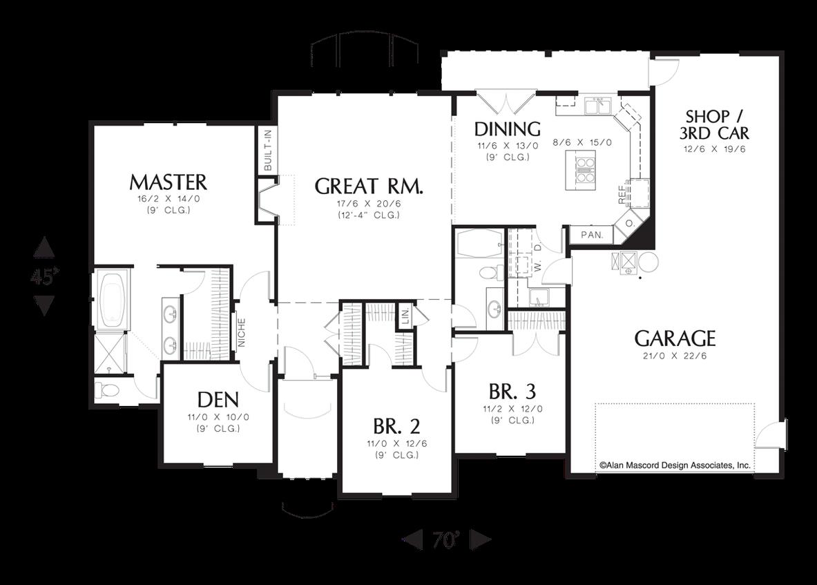 Mascord House Plan 1144 The Sanderstone Craftsman Style House Plans House Plans One Story Floor Plans
