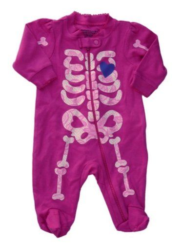 faded glory infant girls pink skeleton halloween sleeper pajamas baby pjs