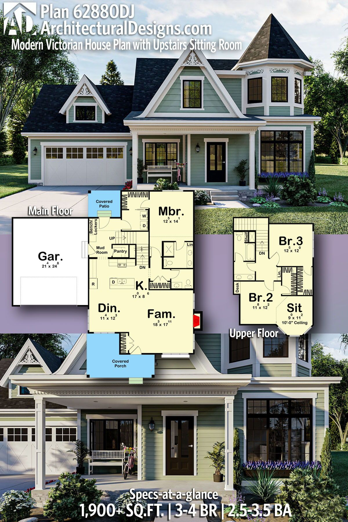 Modern Victorian 3 Bed or 4 Bed House Plan DJ with Upstairs Sitting Room