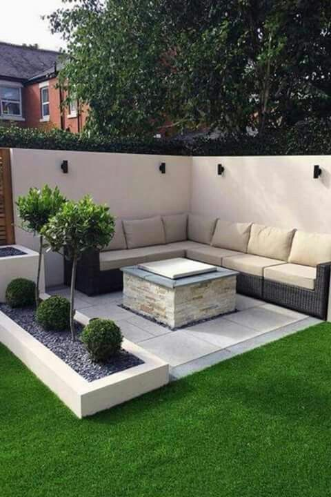 Seating like this but with herb beds behind seats and made of red brick or something more in keeping with the house #contemporarygardendesign