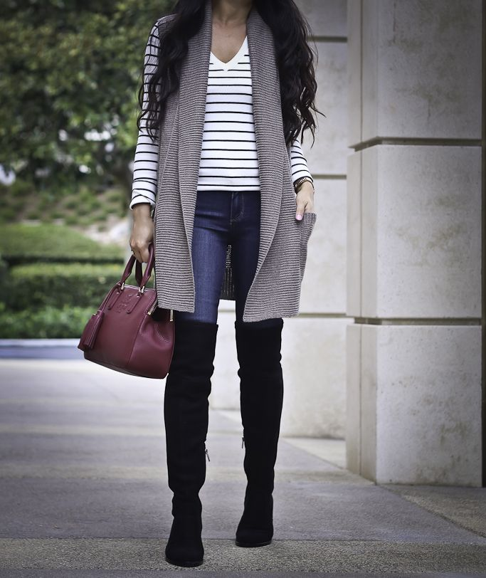0cf50f6ca over the knee flat boots sweater vest fall outfit striped sweater burgundy  bag, petite fashion blog, stylish petite, casual outfit - click the photo  for ...