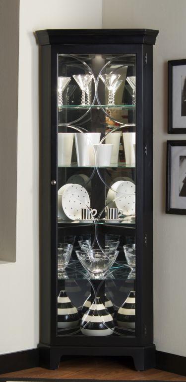 Pulaski Oxford Black Corner Curio Cabinet Muebles De Comedor Muebles De Esquina Estantes De Vidrio