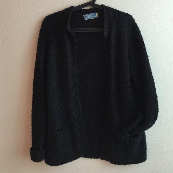 Vintage Black Knit Cardigan Vintage Black cardi super cute for layering Vintage Sweaters Cardigans