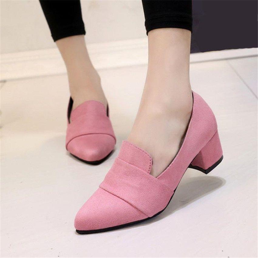 Fashion Pointed Toe Block Heel Velvet