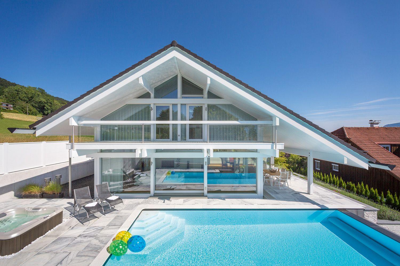Modernes Fachwerkhaus huf fertighaus modernes fachwerkhaus mit pool im sommer plans