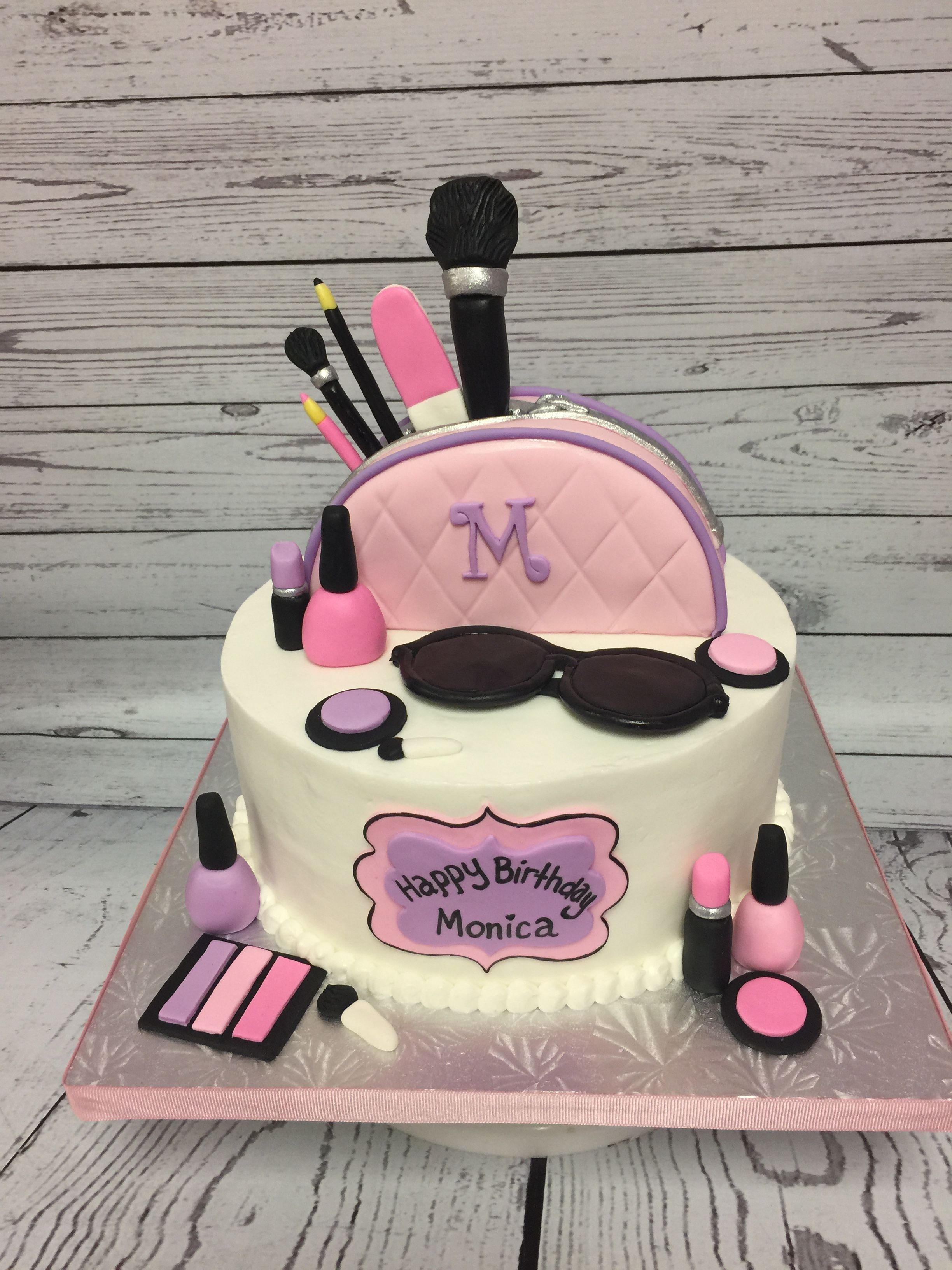 Makeup Themed Birthday Cake Handmade Fondant Accents Made By Cakes Kena