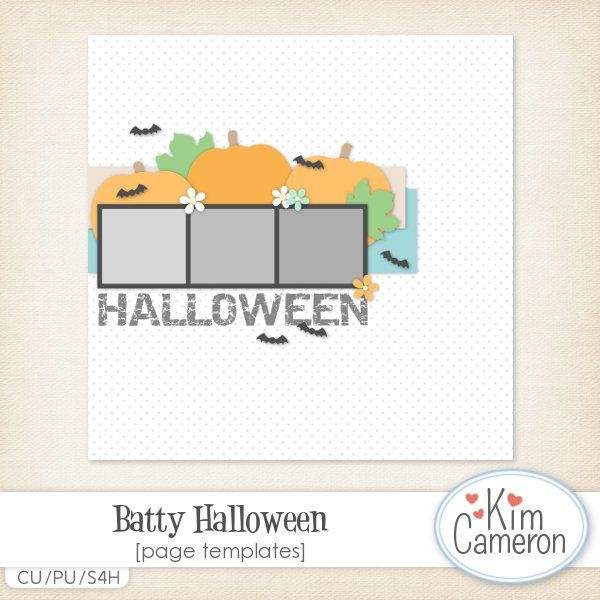 Batty Halloween Page Template CU Daisies  Dimples Shop - halloween template
