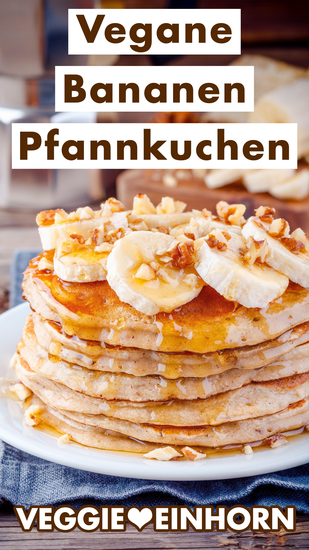 Schnelle Bananen Pancakes ohne Ei | Einfache vegane Bananenpfannkuchen mit Mehl