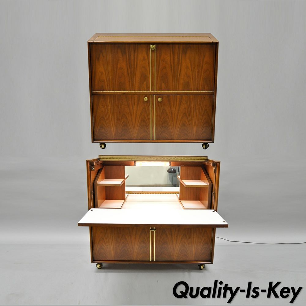 Walnut Mid Century Modern Small Fold Away Dry Bar Cabinet Liquor Cart Server Vtg Midcenturymodern