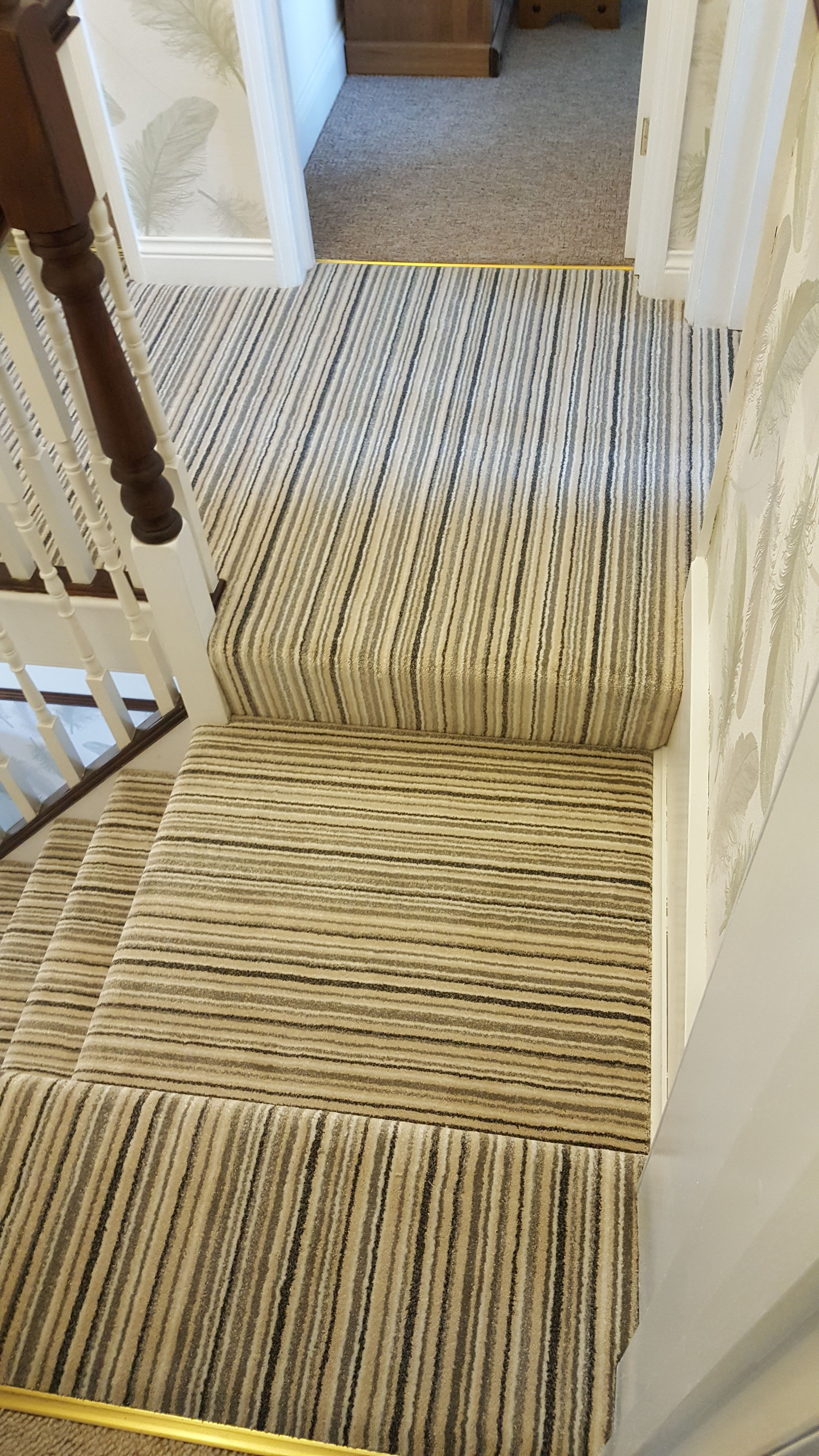 Best Soft Pile Twist In Cream Stripe Fitted To A Stairs And 400 x 300