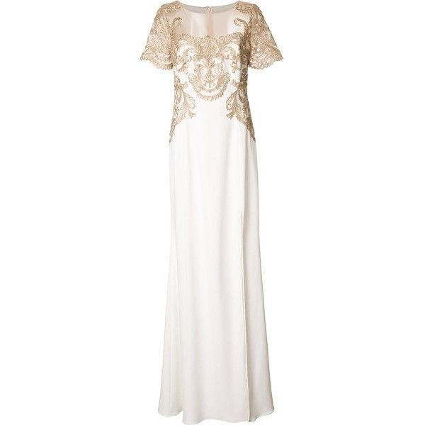 Gold and white embroidered dress