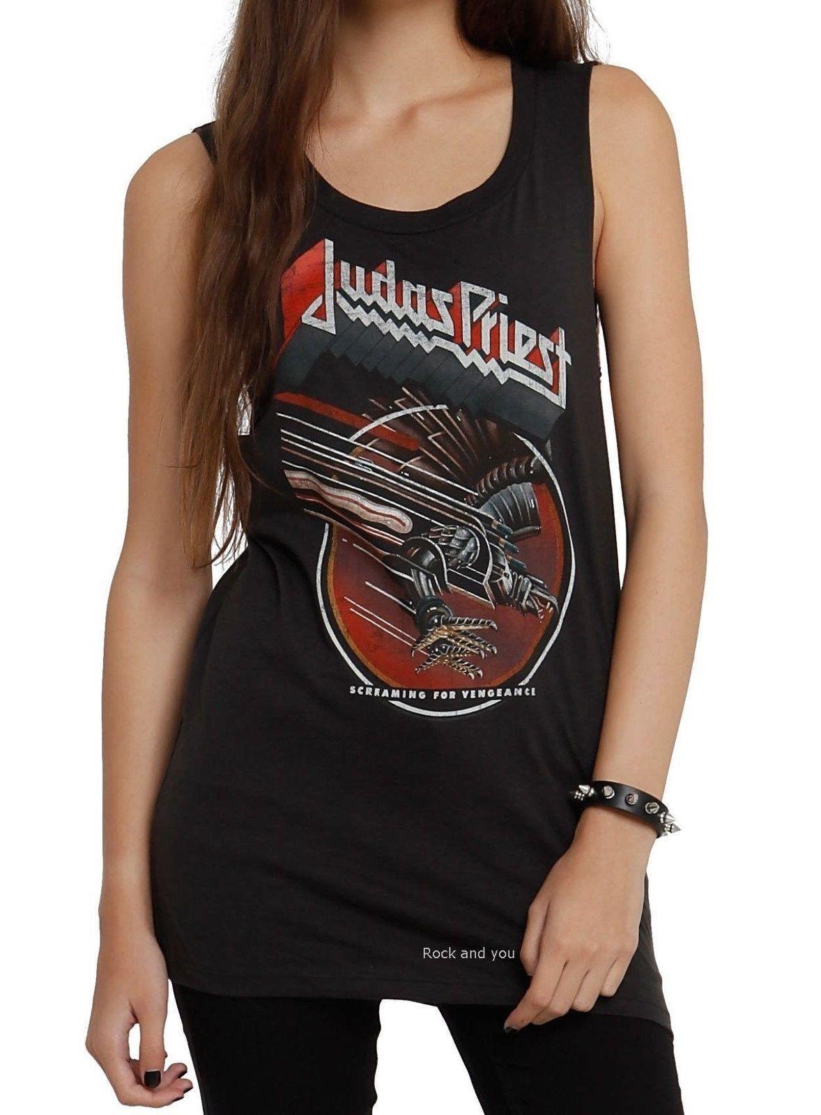 97c2a5ed Judas Priest T-Shirt Screaming for Vengeance metal rock Girls Tank XL Last  NWT