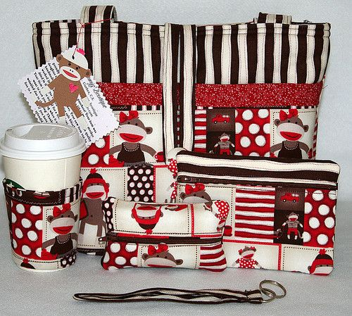 SOCK MONKEY CUTE HANDMADE TOTE BAG, HANDBAG, PURSE SET  ~ FREE SHIPPING ~