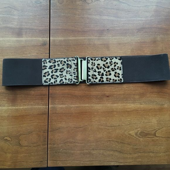 """Chocolate brown and leopard waistline belt Worn a few time..perfect accessory to any shirt or dress..2.5"""" wide Accessories Belts"""