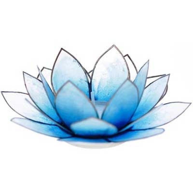 Portavelas De Te Flor De Loto Azul Light Concha Capiz G A