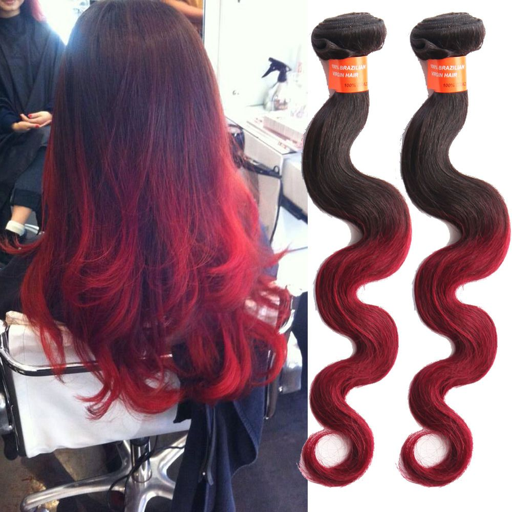 150g 3Bundles 1B BURG Ombre Body Wave Virgin Human Hair